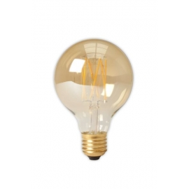 Calex LED Full Glass LongFilament Globe Lamp 240V 4W 320lm E27 GLB80, Gold 2100K Dimmable