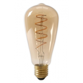 Calex LED Full Glass Flex Filament Rustik Lamp 240V 4W 200lm E27 ST64, Gold 2100K Dimmable