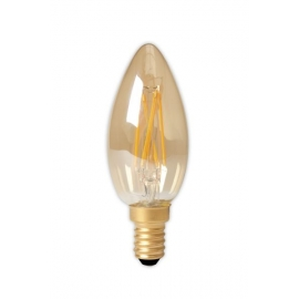 Calex LED Full Glass Filament Candle-lamp 240V 3,5W 200lm E14 B35, Gold 2100K CRI80 Dimmable