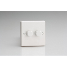 2-Gang 2-Way Push-On/Off Rotary LED Dimmer 2 x 0-120W (1-10 LEDs)