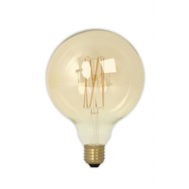 Calex LED Full Glass LongFilament Globe Lamp 240V 4W 320lm E27 GLB125, Gold 2100K Dimmable