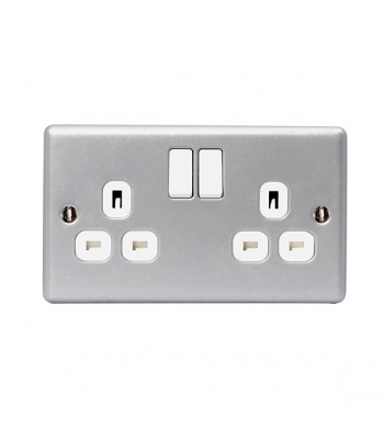 13A Switched Socket outlet, 2 Gang Metal Clad