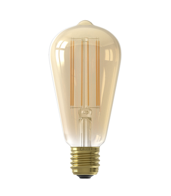 Calex LED Full Glass LongFilament Rustic Lamp 220-240V 4W 400lm E27 ST64, Gold 2100K with sensor