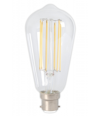 lex LED Full Glass LongFilament Rustik Lamp 240V 4W 350lm B22 ST64, Clear 2300K Dimmable