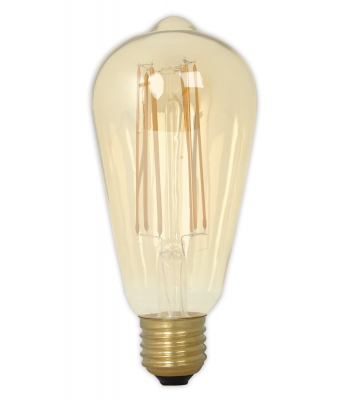 Calex LED Full Glass LongFilament Rustik Lamp 240V 4W 320lm E27 ST64, Gold 2100K Dimmable