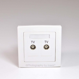 2 GANG TV OUTLET, TWIN ISOLATED , LOOP-THROUGH, ABB