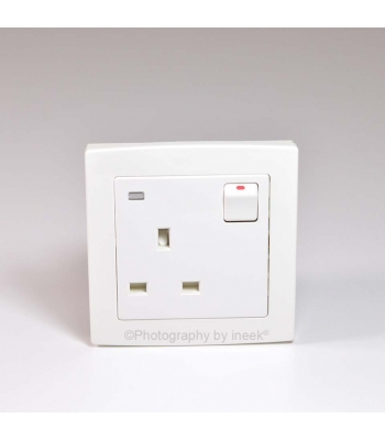 BS DOUBLE POLE SW SOCKET OUTLET NEON, 13A, ABB