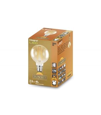 G80 Sunset Filament Globe Lamp 2.5W (19W) 1800K 170lm B22 Non-Dimmable 300 deg Beam Angle
