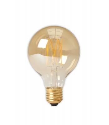 Calex LED Full Glass LongFilament Globe Lamp 240V 4W 320lm E27 GLB80, Gold 2100K Dimmable