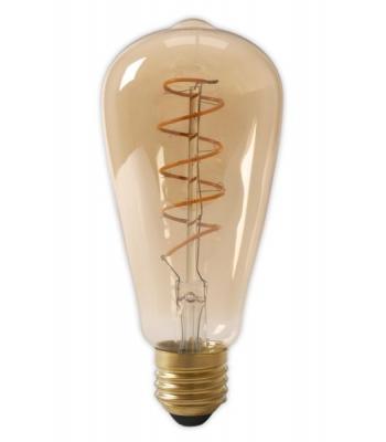 Calex LED Full Glass Flex Filament Rustik Lamp 240V 4W 200lm E27 ST64, Gold 2100K Dimmable