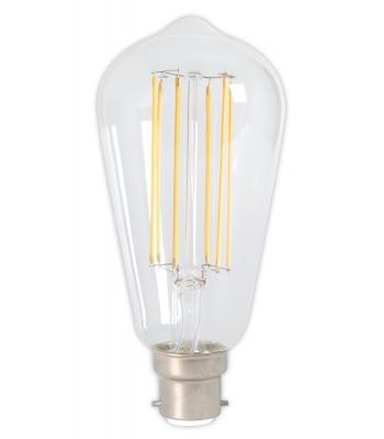 lex LED Full Glass LongFilament Rustik Lamp 240V 4W 350lm B22 ST64, Clear 2300K Dimmable