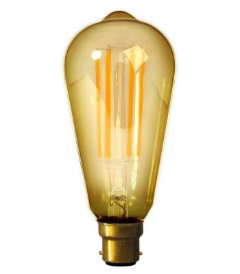 Calex LED Full Glass LongFilament Rustik Lamp 240V 4W 320lm E27 ST64, Gold 2100K Dimmable
