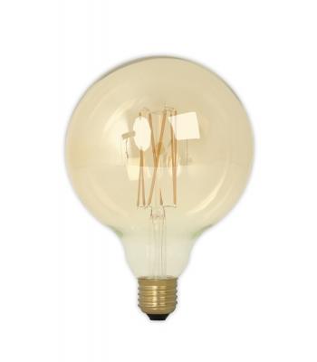 Calex LED Full Glass LongFilament Globe Lamp 240V 4W 320lm E27 GLB125, Gold 2100K Dimmable